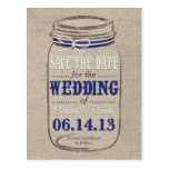 Rustic Mason Jar Save the Date Navy White Post Card