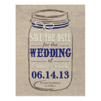 Rustic Mason Jar Save the Date Navy White Postcard