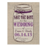 Rustic Mason Jar Save the Date Purples Post Card