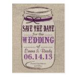 Rustic Mason Jar Save the Date Purples Postcard