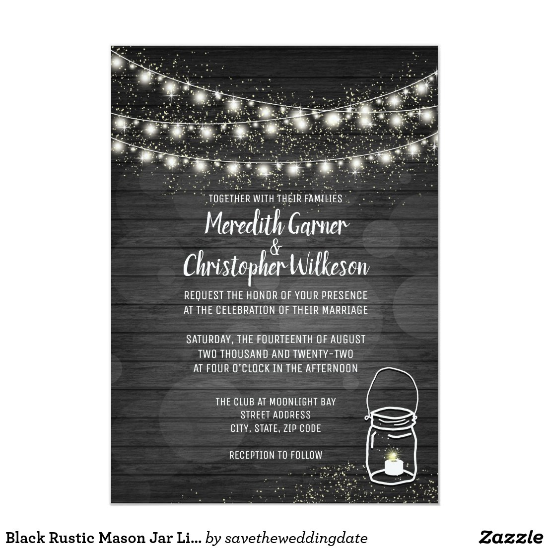 Rustic Mason Jar String Lights Black Wood Wedding Card