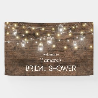 Rustic Mason Jar String Lights Bridal Shower Banner