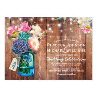 Rustic Mason Jar String Lights Floral Wedding Invitation