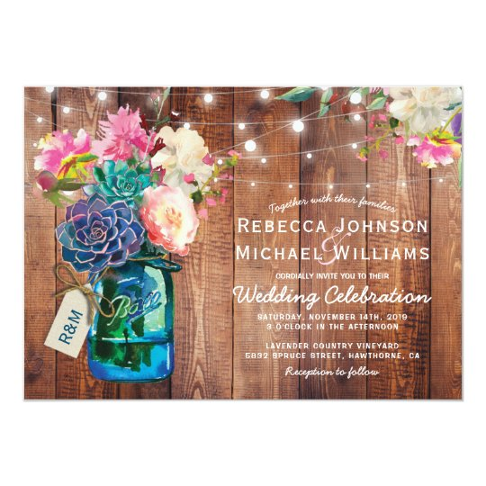 Rustic Mason Jar Floral Wedding Invitations Burgundy: Rustic Mason Jar String Lights Floral Wedding Invitation