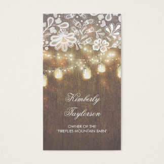 Rustic Mason Jar String Lights Lace Wood Barn Business Card
