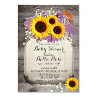Rustic Mason Jar Sunflower Baby Shower Invitations