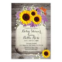 Rustic Mason Jar Sunflower Baby Shower Invitations