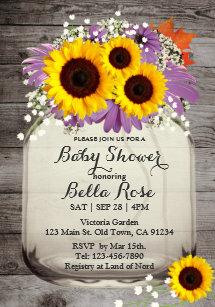 Sunflower baby shower invitations zazzle rustic mason jar sunflower baby shower invitations filmwisefo