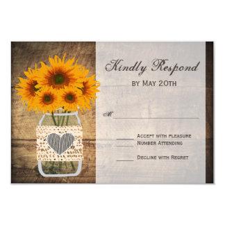 Rustic Mason Jar Sunflower RSVP Cards
