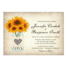 Sunflower Wedding Invitations - Country Wedding Invitations