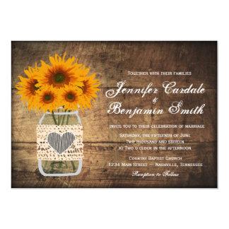 Rustic Mason Jar Sunflower Wedding Invitations