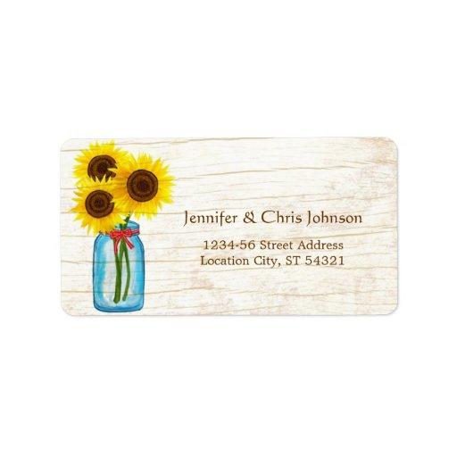 Rustic Mason Jar & Sunflowers Address Personalized Address Label