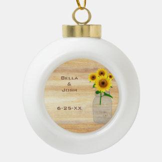 Rustic Mason Jar Sunflowers Ceramic Ball Ornament