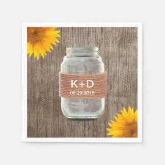 Rustic Mason Jar & Sunflowers Country Wedding Napkin