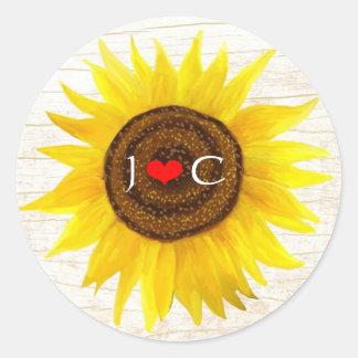 Rustic Mason Jar & Sunflowers Envelope Seal Classic Round Sticker