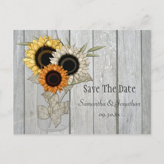 Rustic Mason Jar Sunflowers Save The Date Announcement Postcard