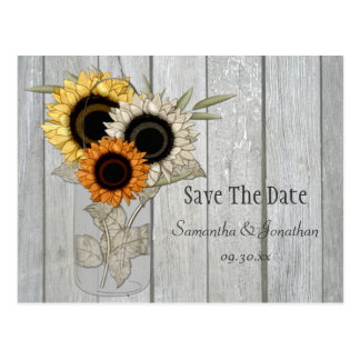 Rustic Mason Jar Sunflowers Save The Date Post Cards