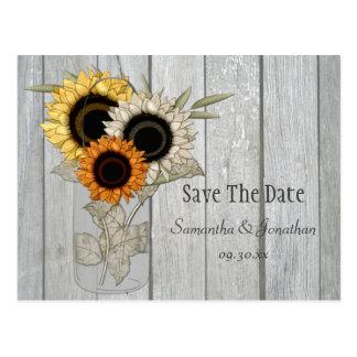 Rustic Mason Jar Sunflowers Save The Date Postcard