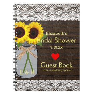 Rustic Mason Jar Sunflowers Shower Guest Book |