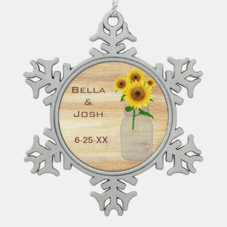 Rustic Mason Jar Sunflowers Snowflake Ornament