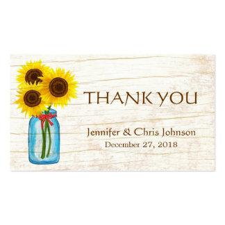 Rustic Mason Jar & Sunflowers Wedding Favor Seal Business Card