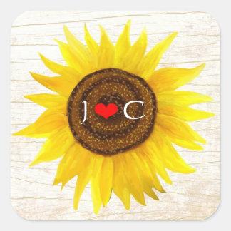Rustic Mason Jar & Sunflowers Wedding Favor Seal Square Sticker