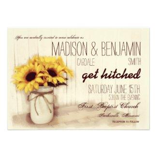 Rustic Mason Jar Sunflowers Wedding Invitations