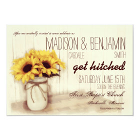 Rustic Mason Jar Sunflowers Wedding Invitations