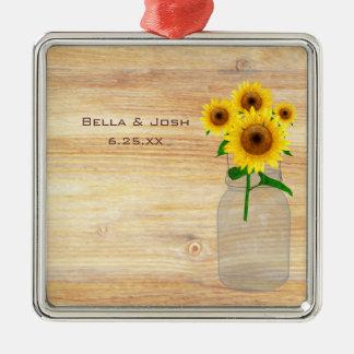 Rustic Mason Jar Sunflowers Wedding Ornament