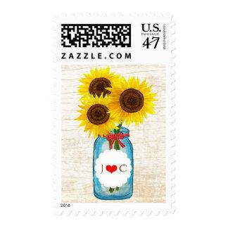 Rustic Mason Jar & Sunflowers Wedding Postage