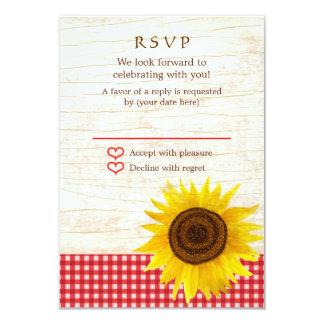 Rustic Mason Jar & Sunflowers Wedding RSVP Card