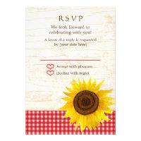 Rustic Mason Jar & Sunflowers Wedding RSVP Invites