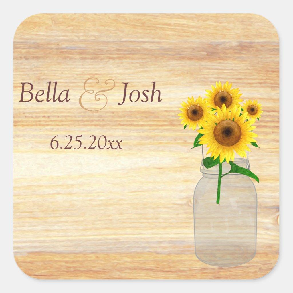 Rustic Mason Jar Sunflowers Wedding Sticker
