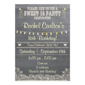 Rustic Mason Jar Sweet 16Birthday Party Invite