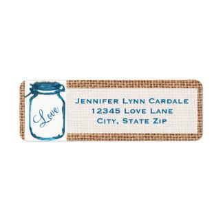 Rustic Mason Jar Teal Burlap Wedding Address Label