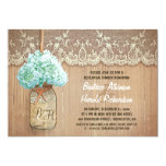 "rustic mason jar teal hydrangea rehearsal dinner 5"" x 7"" invitation card"