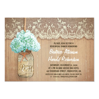 rustic mason jar teal hydrangea rehearsal dinner 5x7 paper invitation card