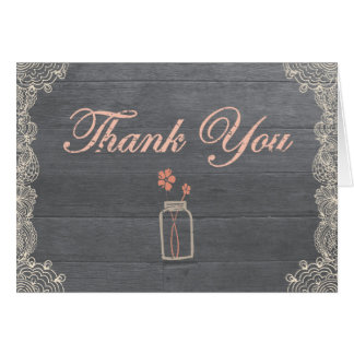 Rustic Mason Jar Thank You Coral Note Cards