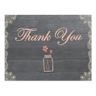Rustic Mason Jar Thank You Coral postcards