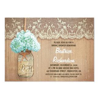 rustic mason jar turquoise hydrangea bridal shower 5x7 paper invitation card