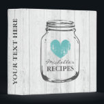 "Rustic mason jar vintage wooden recipe binder book<br><div class=""desc"">Personalized white oak wood grain line rustic mason jar kitchen recipe binder book. Custom kitchen cookbook with vintage turquoise blue faded heart and personalizable name. Cute personalized baking / cooking gift idea for women; ie mom, mother, aunt, wife, sister, daughter, grandma, bride, bridesmaids, friend, chef etc. Country chic design with...</div>"