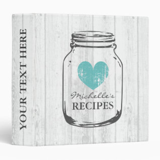 Rustic Mason Jar Vintage Wooden Recipe Binder Book at Zazzle