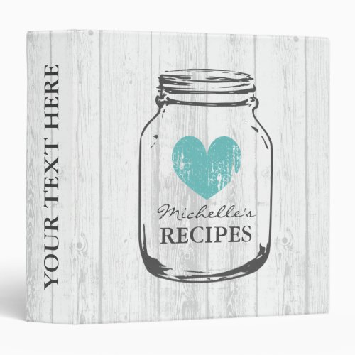 Rustic mason jar vintage wooden recipe binder book