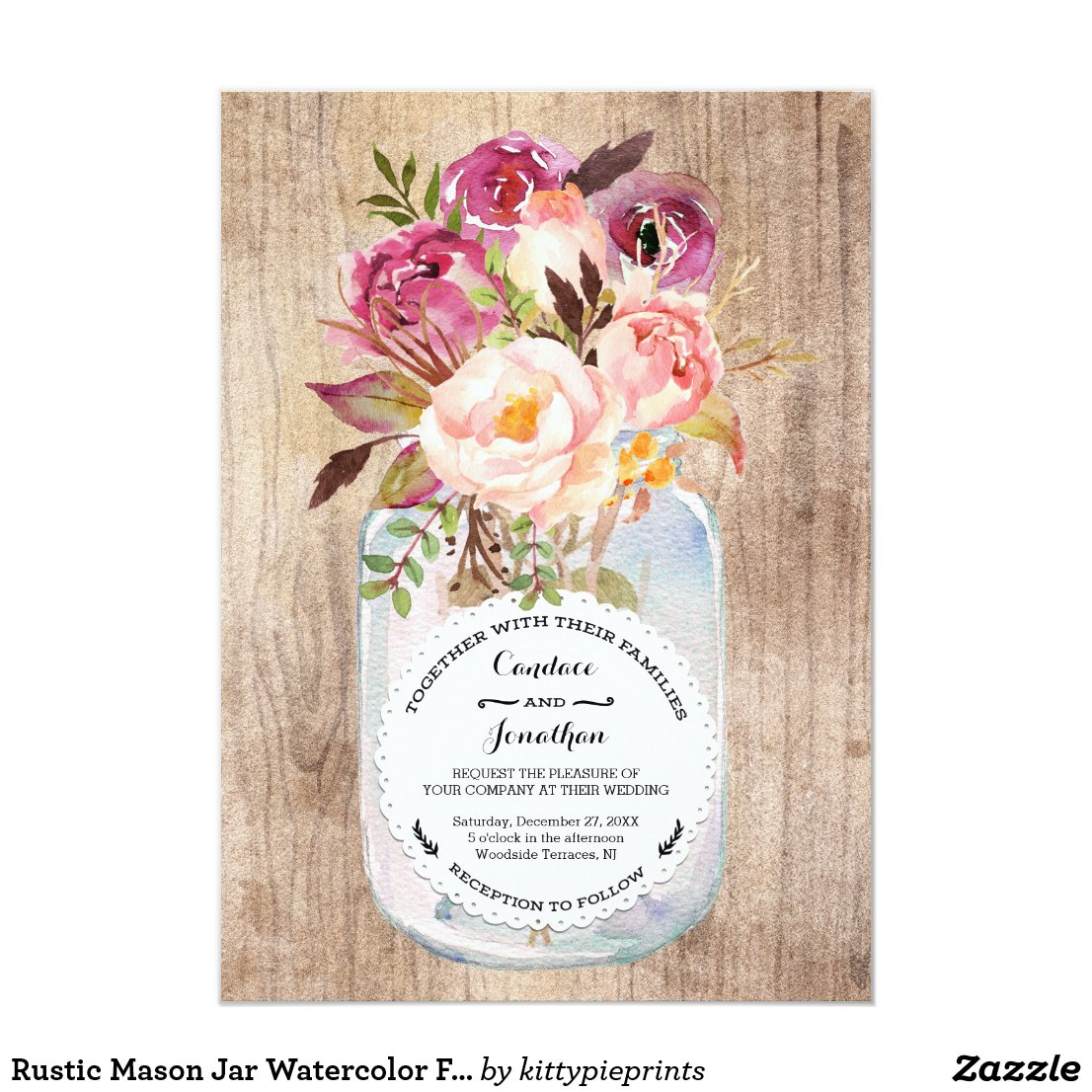 Rustic Mason Jar Watercolor Flowers Wood Wedding Card