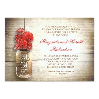 "rustic mason jar wedding anniversary invitations 5"" x 7"" invitation card"