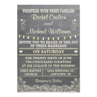 "Rustic Mason Jar Wedding Invitation 5"" X 7"" Invitation Card"