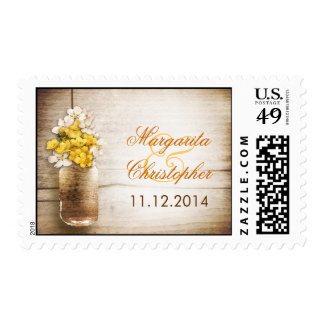 rustic mason jar wedding postage stamps