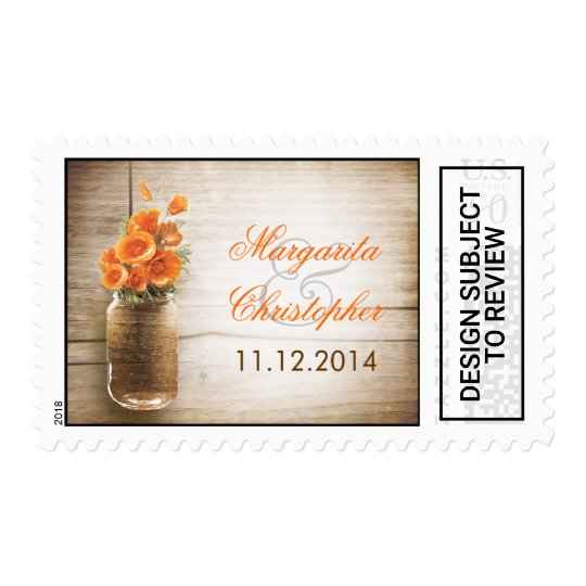Rustic Mason Jar Wedding Postage Stamps
