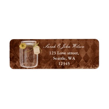 rustic mason jar wedding ,return address label