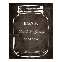 rustic mason jar wedding rsvp card